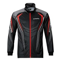 Блуза с цип Shimano Full Zip Print Shirt - Black